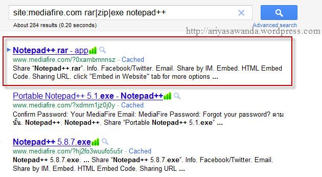 mencari file ekstensi : exe,zip,rar